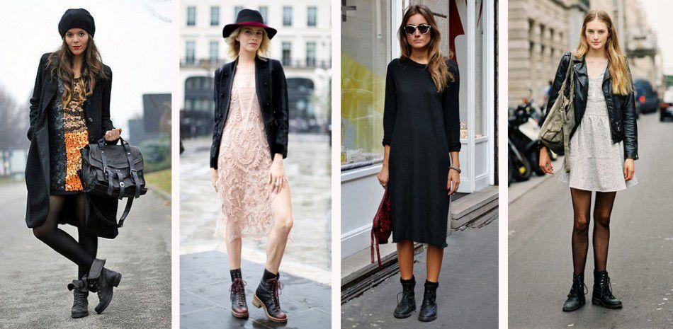 Платье до колен с ботинками